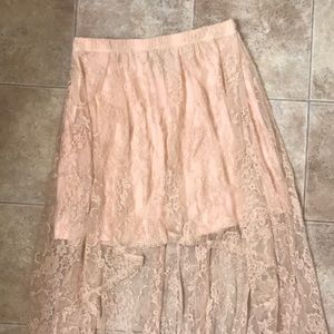 Forever 21 Blush Pink High-Low Skirt